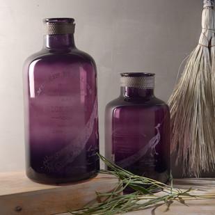 Abner & Aldis Large Purple Bottles Set of 2 Decorative Vase By Fabuliv