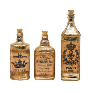 Edwin Vintage Decorative Bottles Set Of 3 Curio By Fabuliv
