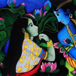 Lovers: The Poet's Garden by PARESH MORE, Decorative Painting, Acrylic on Canvas,