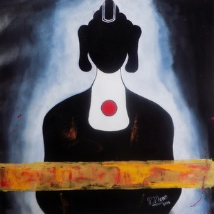 BUDDHA IN BLACK by PARESH MORE, Decorative Painting, Acrylic on Canvas,