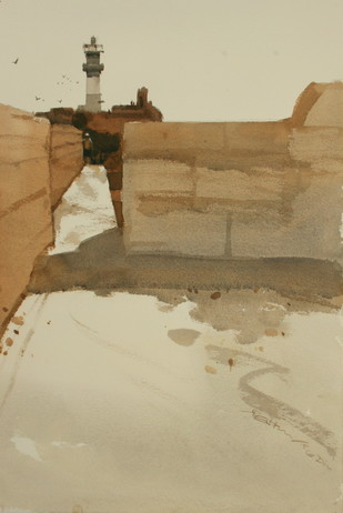 Lighthouse shows the way in daytime too 2 by Prashant Prabhu, Impressionism Painting, Watercolor on Paper, Beige color
