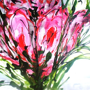 Imaginative Blooms by Baljit Singh Chadha, Abstract Painting, Mixed Media on Paper, Pink color