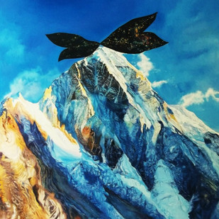 New World VIII by Sumitava Maity, Surrealism Painting, Oil on Canvas, Blue color