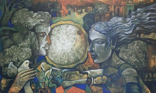 Silent Love by Pulakesh Mandal, Expressionism Painting, Acrylic on Canvas, Gray color