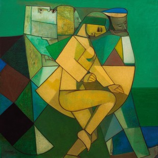 Beginning of a Dance by Neeraj Goswami, Cubism Painting, Oil on Canvas, Green color