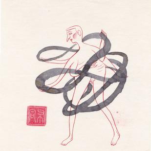 Man 022 by Buddhadev Mukherjee, Minmalism Painting, Mixed Media on Paper, Beige color