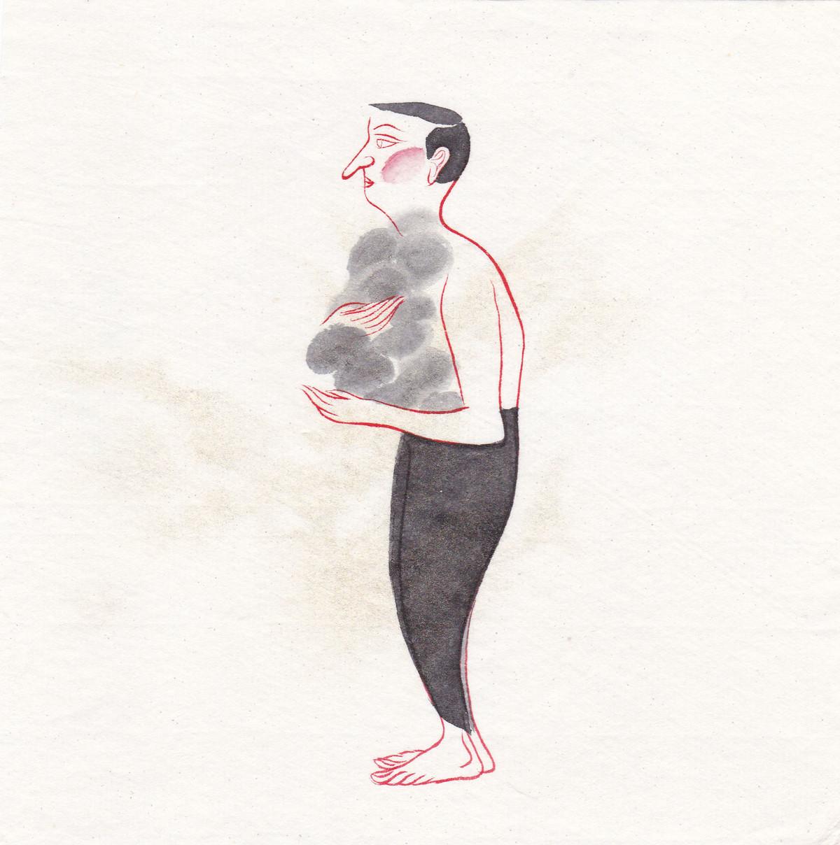 Man 075 by Buddhadev Mukherjee, Illustration Painting, Mixed Media on Paper, White color