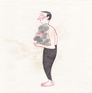 Man 075 by Buddhadev Mukherjee, Illustration Painting, Mixed Media on Paper, White color