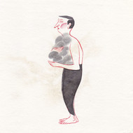 Buddhadev mukherjee  man 075  2013  chinese watercolour  ink and gold dust on chinese rice paper  20.3 x 20.3 cm   8 x 8 in