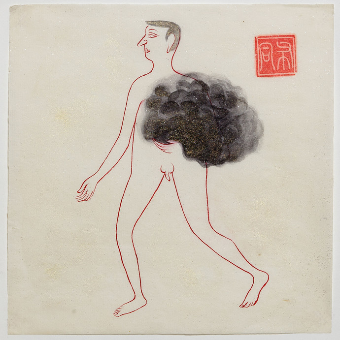 Man 131 by Buddhadev Mukherjee, Minmalism Painting, Mixed Media on Paper, Beige color