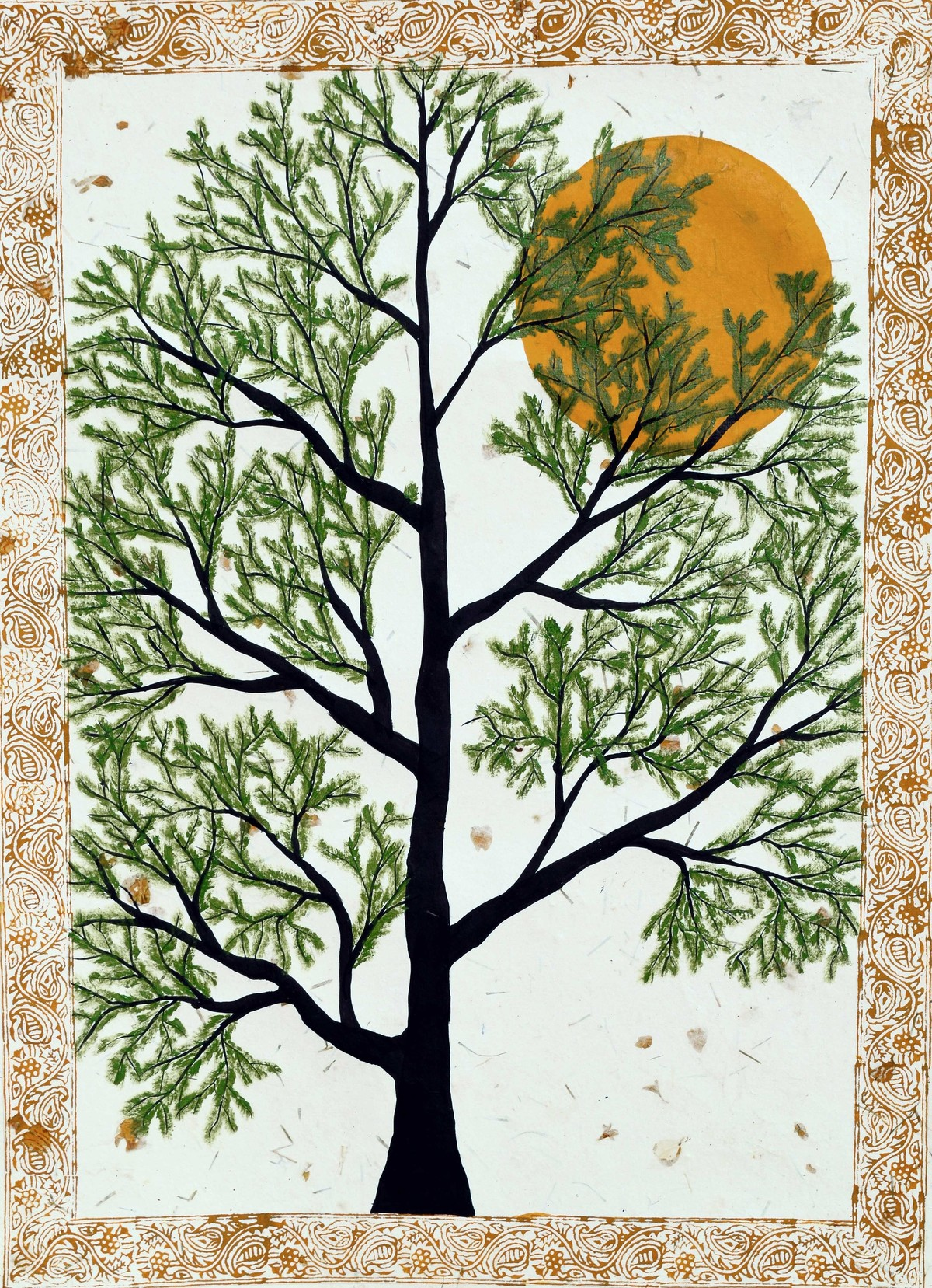 Prabanvriksh by Sumit Mehndiratta, Decorative Painting, Acrylic & Ink on Paper, Beige color