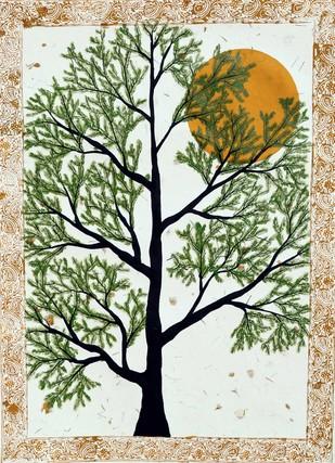 Prabanvriksh by Sumit Mehndiratta, Decorative Painting, Acrylic & Ink on Paper, Beige color