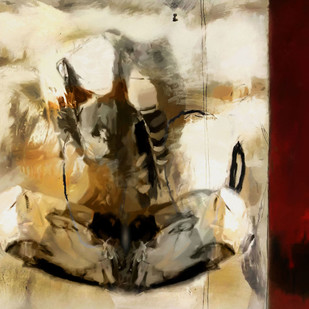 Breaking Silence by Gopal Mehan, Abstract Painting, Oil & Acrylic on Canvas, Beige color