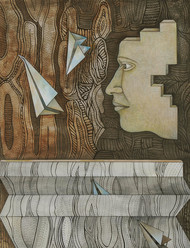 Floating 2 by Puja Kshatriya, Surrealism Painting, Mixed Media on Paper, Brown color