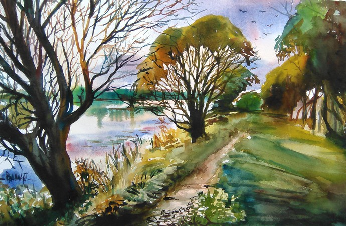 Landscape 2 by Prabhakaran, Impressionism Painting, Watercolor on Paper, Green color