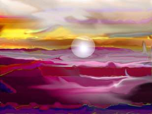 Untitled by Arun Trivedi , Digital Digital Art, Digital Print on Canvas, Purple color