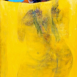 After Bath by Gajanan Dandekar, Impressionism Painting, Acrylic on Canvas, Yellow color