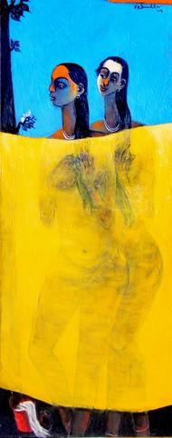 After Bath by Gajanan Dandekar, Impressionism Painting, Acrylic on Canvas, Yellow color