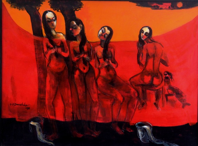 Bathers by Gajanan Dandekar, Impressionism Painting, Acrylic on Canvas, Red color
