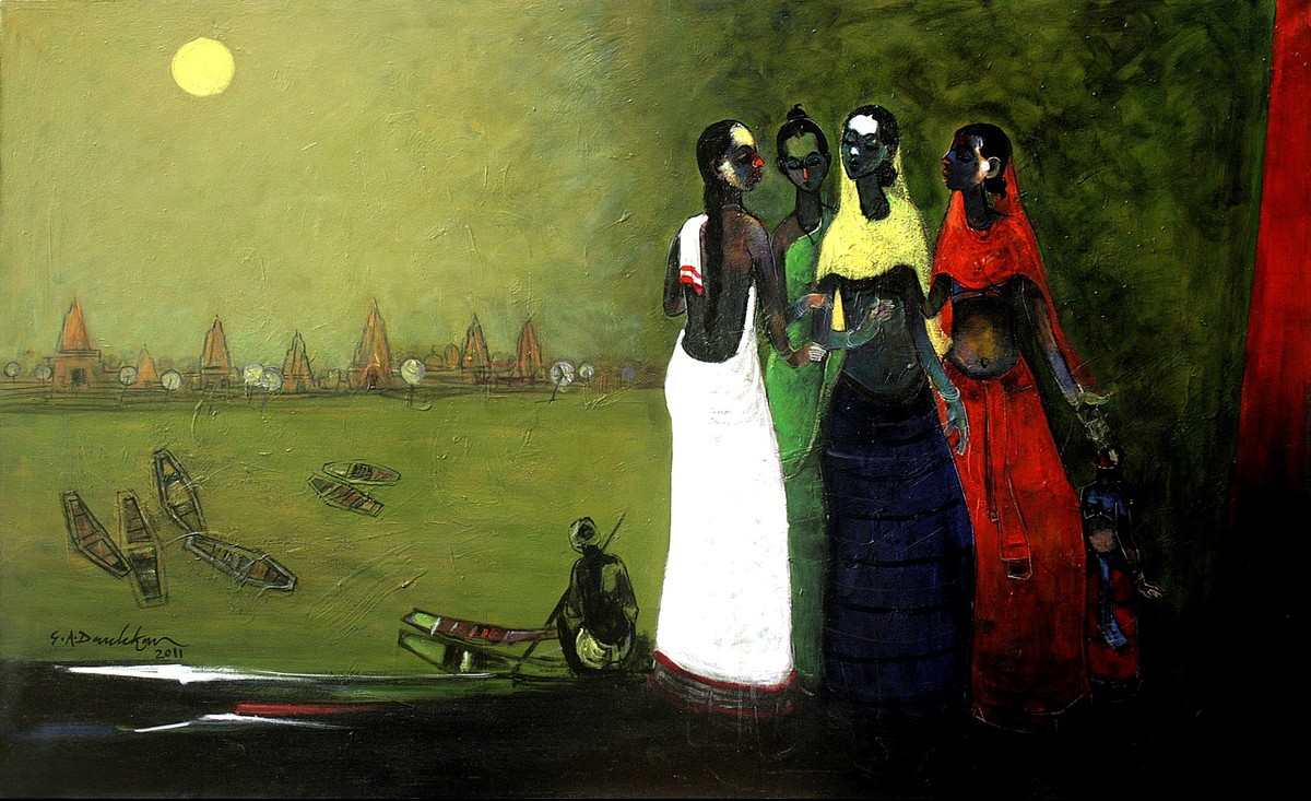 Kinara by Gajanan Dandekar, Impressionism Painting, Acrylic on Canvas, Green color