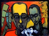 Brother And Sister by Gajanan Dandekar, Expressionism Painting, Acrylic on Canvas, Brown color