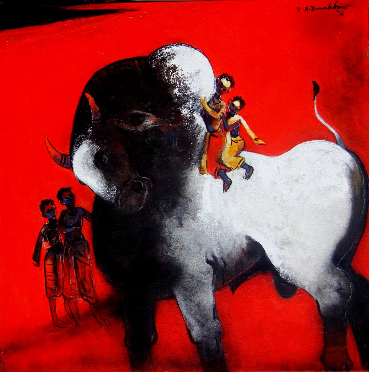 Playing With Bull by Gajanan Dandekar, Impressionism Painting, Acrylic on Canvas, Red color