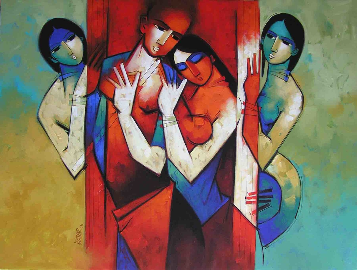 Rhythm in Love 9 by Arvind Kolapkar, Impressionism Painting, Acrylic on Canvas, Brown color