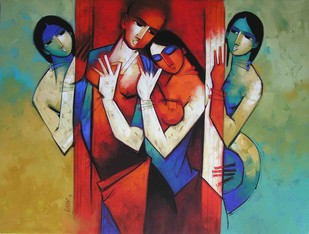 Rhythm in Love 9 by Arvind Kolapkar, Impressionism Painting, Acrylic on Canvas, Brown color