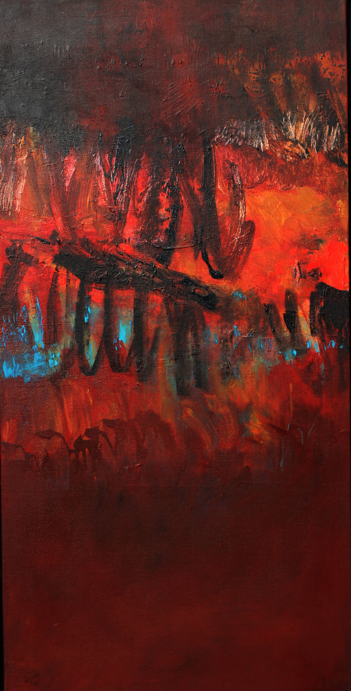When Red Invited Me by Nishi Nitya sharma, Abstract Painting, Acrylic on Canvas, Brown color