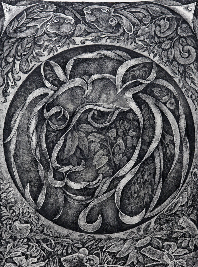 Zodiac Series I by Gouri Vemula, Illustration Drawing, Pen on Paper, Gray color