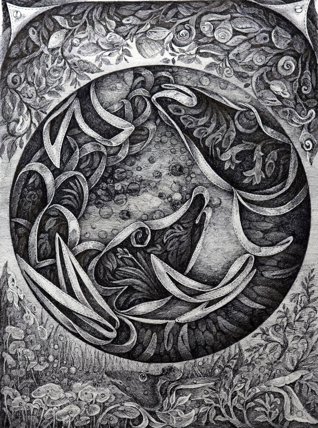 Zodiac Series I by Gouri Vemula, Illustration Drawing, Pen & Ink on Paper, Gray color