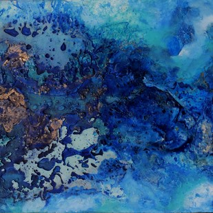 Blue Haze (Interstellar Series) by Bahaar Dhawan Rohatgi, Abstract Painting, Mixed Media on Canvas, Blue color