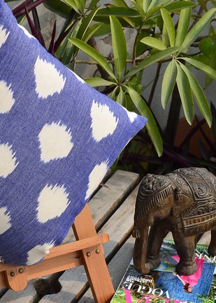 Woven Ikat Droplets Cushion Cover Cushion By The House of Loom