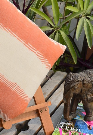 Woven Ikat Orange Cushion Cover Cushion By The House of Loom