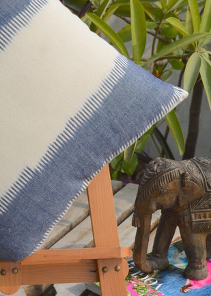 Woven Ikat Grey Cushion Cover Cushion By The House of Loom
