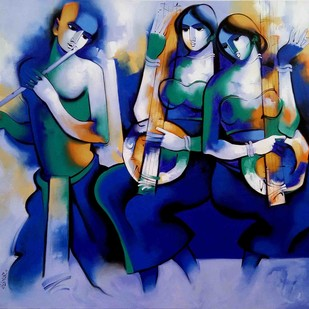 Harmony2017 by Arvind Kolapkar, Impressionism Painting, Acrylic on Canvas, Blue color