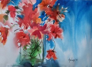 The Heavenly Reds by Ashis Manna, Impressionism Painting, Watercolor on Paper, Brown color