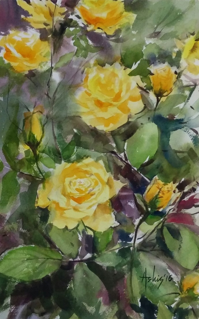The Yellow Invite by Ashis Manna, Impressionism Painting, Watercolor on Paper, Green color