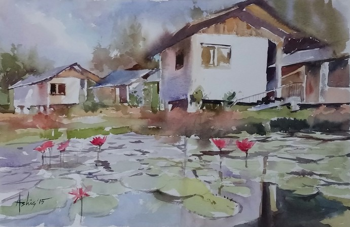 The Morning Glory by Ashis Manna, Impressionism Painting, Watercolor on Paper, Brown color