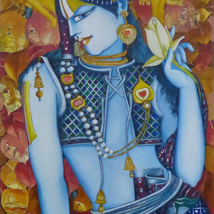 Krishna by L Saraswathi, Decorative Painting, Acrylic on Canvas, Brown color