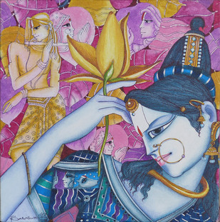 Radha by L Saraswathi, Decorative Painting, Acrylic on Canvas, Brown color