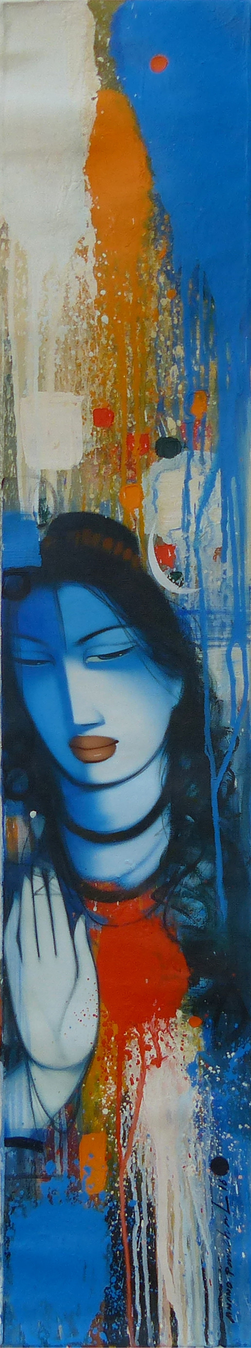 Lord Shiva by Anand Panchal, Impressionism Painting, Acrylic on Canvas, Blue color