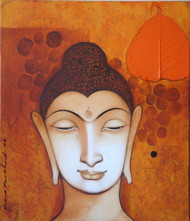 Lord Buddha by Anand Panchal, Decorative Painting, Acrylic on Canvas, Brown color