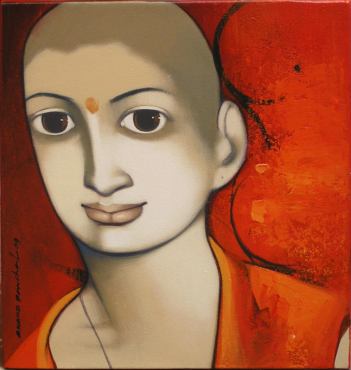 Untitled by Anand Panchal, Decorative Painting, Acrylic on Canvas, Brown color