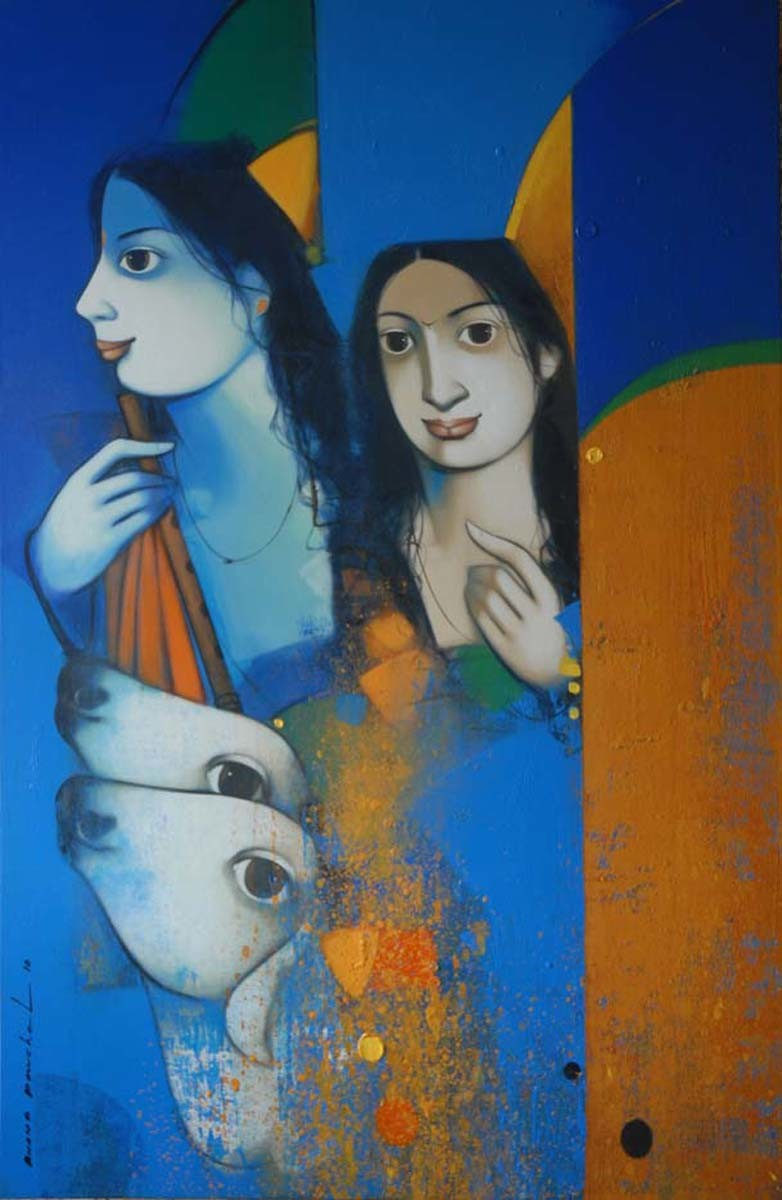Untitled by Anand Panchal, Decorative Painting, Acrylic on Canvas, Blue color