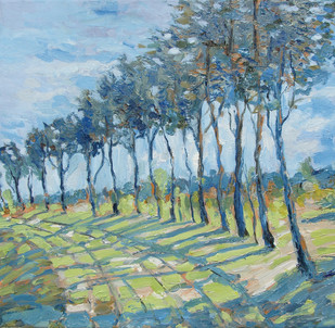 Sunlit Path by Animesh Roy, Impressionism Painting, Oil on Linen, Green color