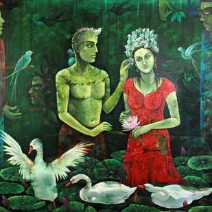 The Magic Touch by Indu Tripathy, Decorative Painting, Oil on Canvas, Green color