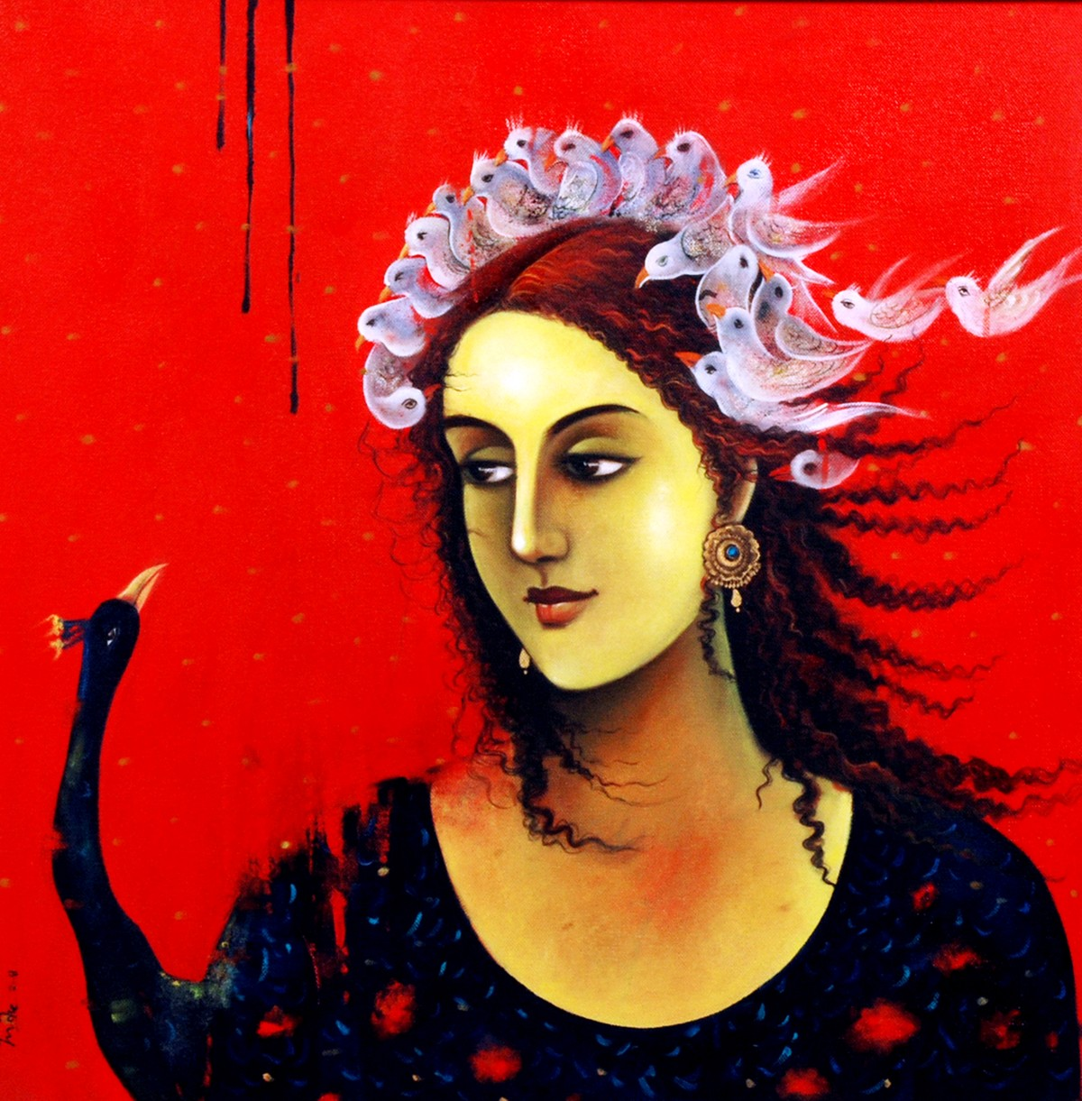 Habitat by Indu Tripathy, Impressionism Painting, Oil on Canvas, Red color