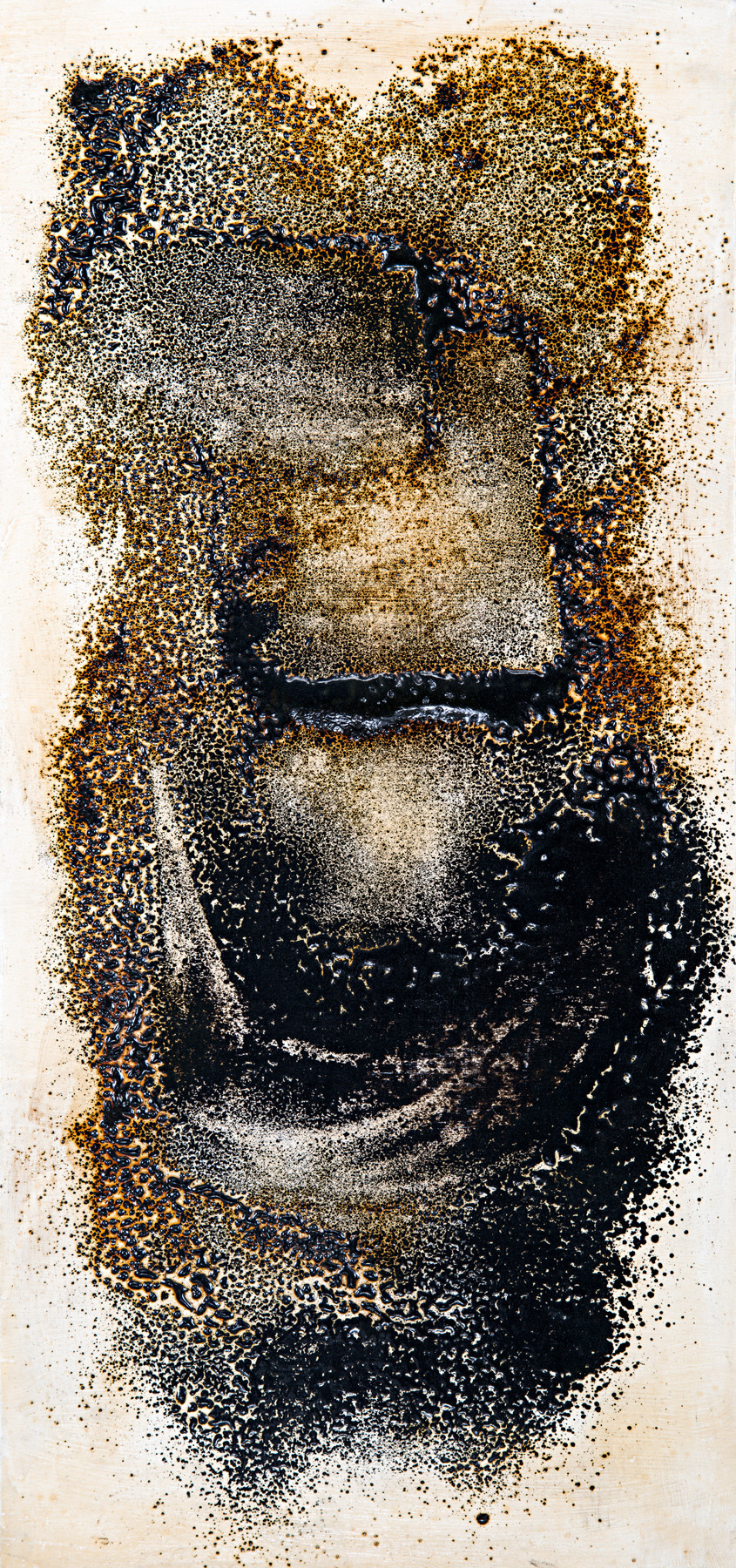 Winter Chill by Simran KS Lamba, Abstract Painting, Mixed Media on Wood, Brown color