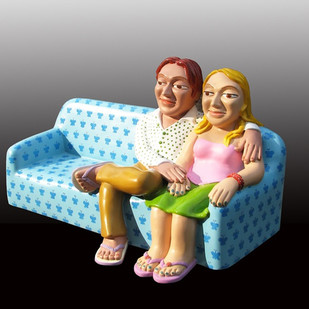 Couple On Sofa by Loknath Sinha, Pop Art Sculpture | 3D, Fiber Glass, Gray color